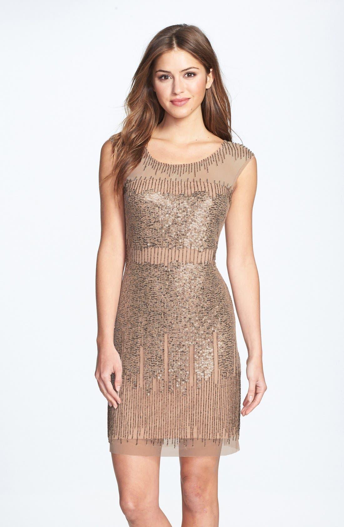 Illusion Yoke Beaded Sheath Dress,                         Main,                         color, Taupe/ Pink