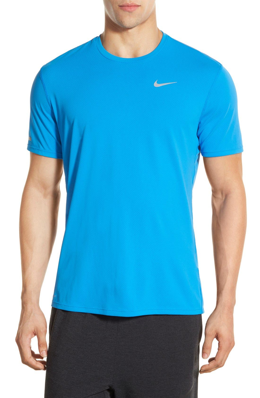 'Contour' Mesh Dri-FIT Running T-Shirt,                             Main thumbnail 1, color,                             Photo Blue/ Reflective Silver