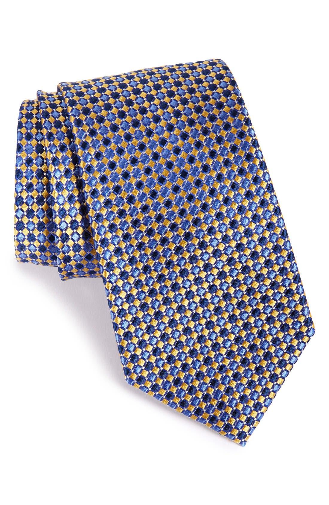 Geo Pattern Silk Tie,                         Main,                         color, Yellow/ Navy