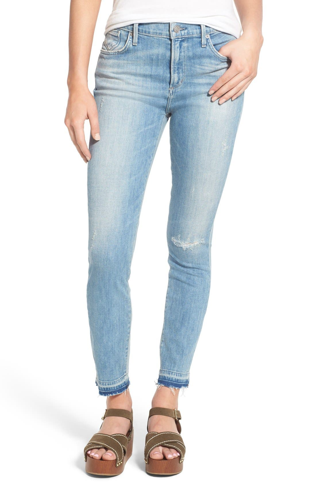 Main Image - A Gold E 'Sophie' Crop Skinny Jeans (Blue Lagoon)