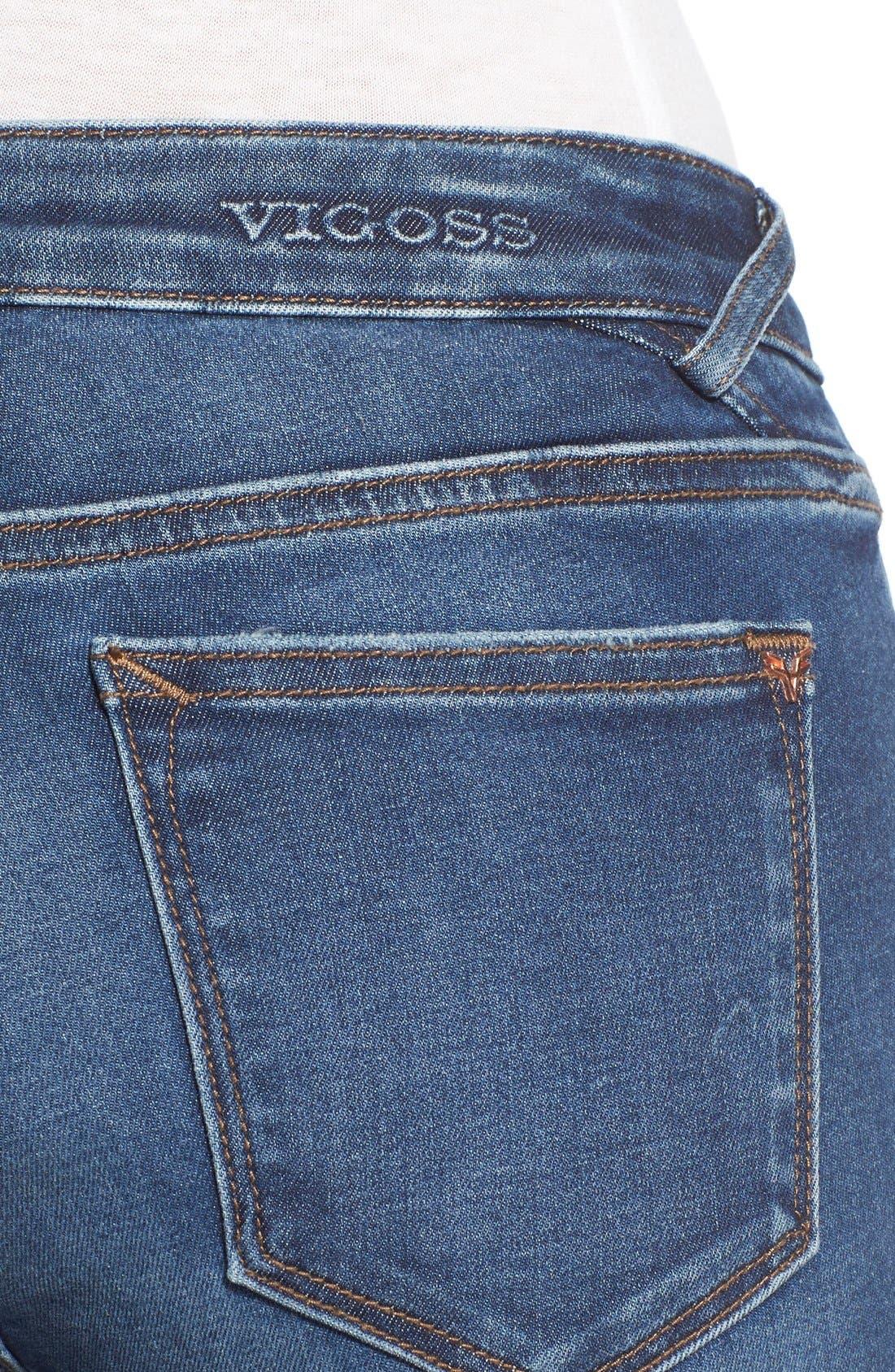 Alternate Image 4  - Vigoss Distressed Raw Hem Skinny Jeans