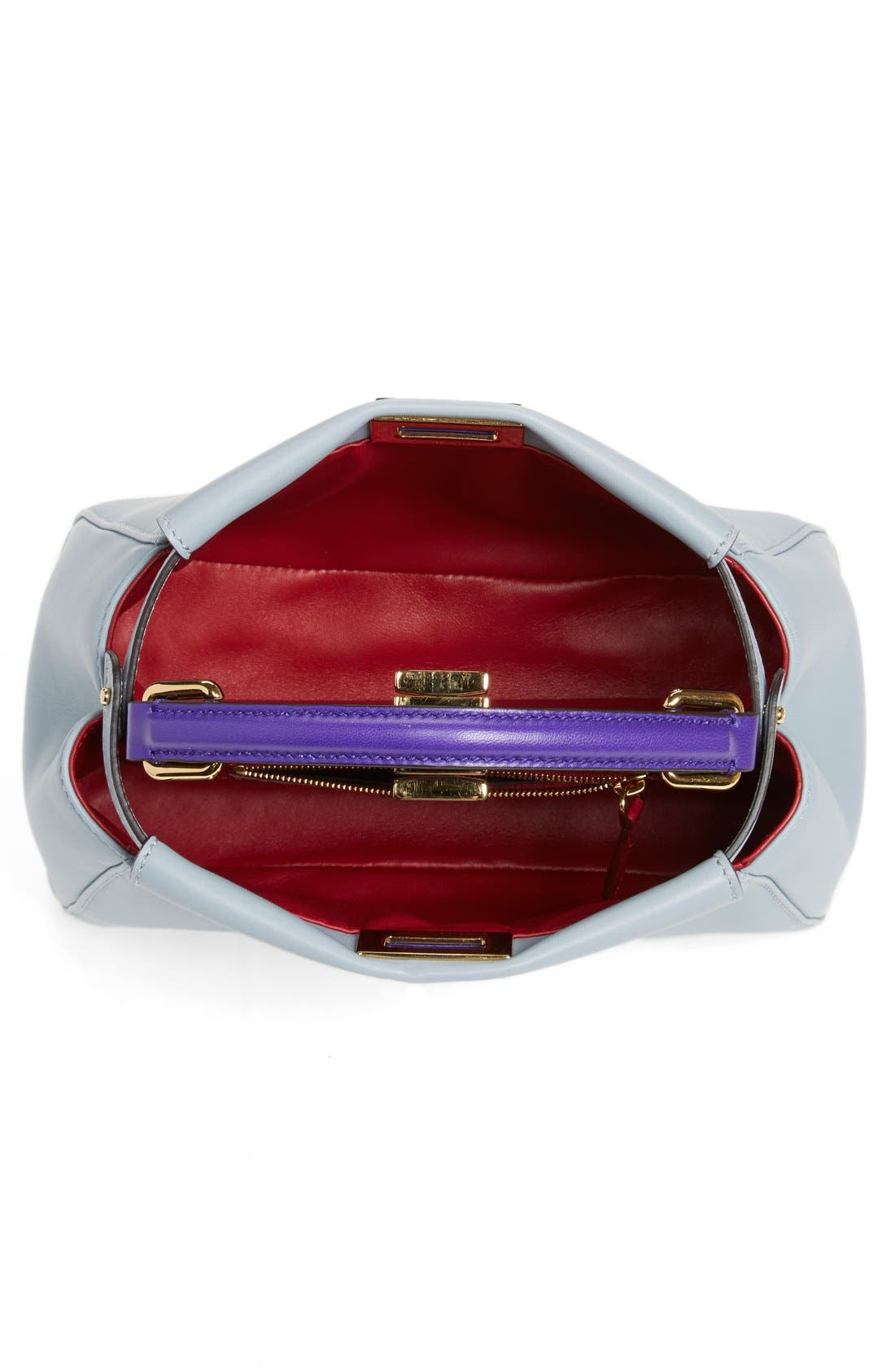 'Mini Peekaboo' Colorblock Leather Bag,                             Alternate thumbnail 3, color,                             Powder/Purple Ruby