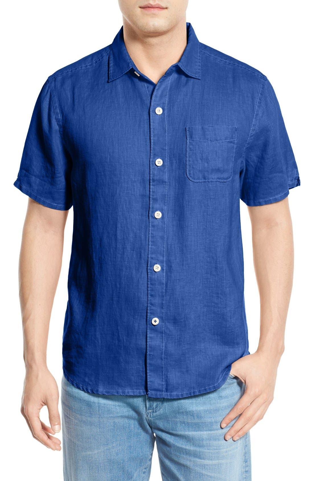Seaglass Breezer Short Sleeve Linen Sport Shirt,                         Main,                         color, Old Royal