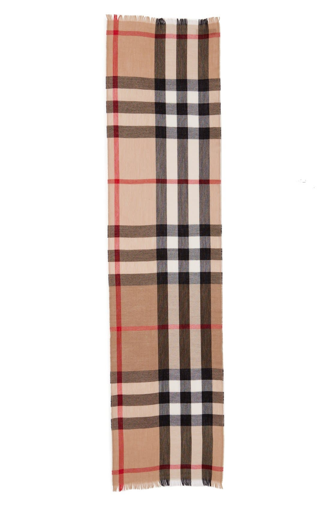 Check Wool & Cashmere Scarf,                             Alternate thumbnail 2, color,                             Camel