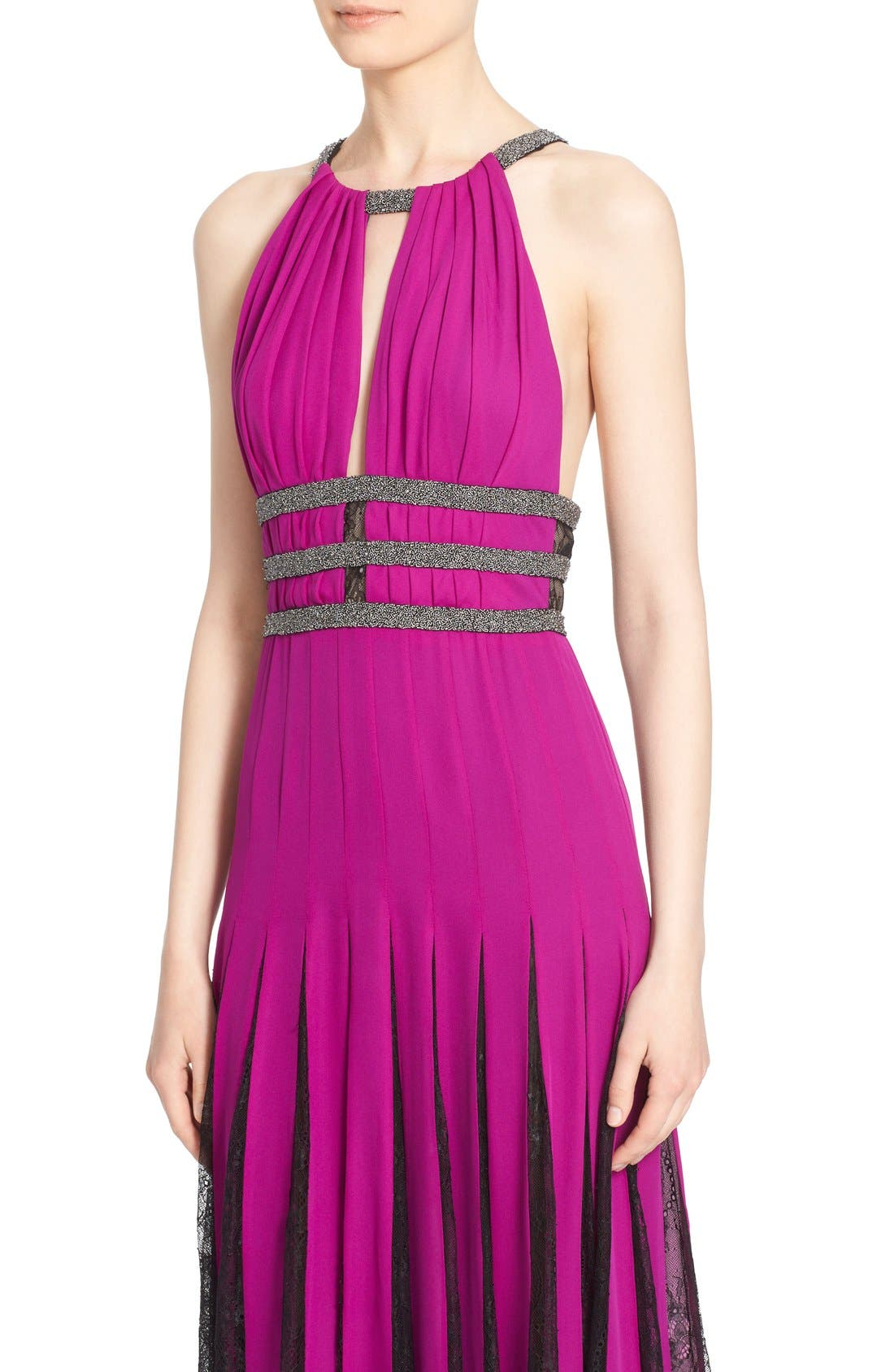 Couture Silk Halter Gown with Lace Pleats,                             Alternate thumbnail 6, color,                             Orchid/ Smoke