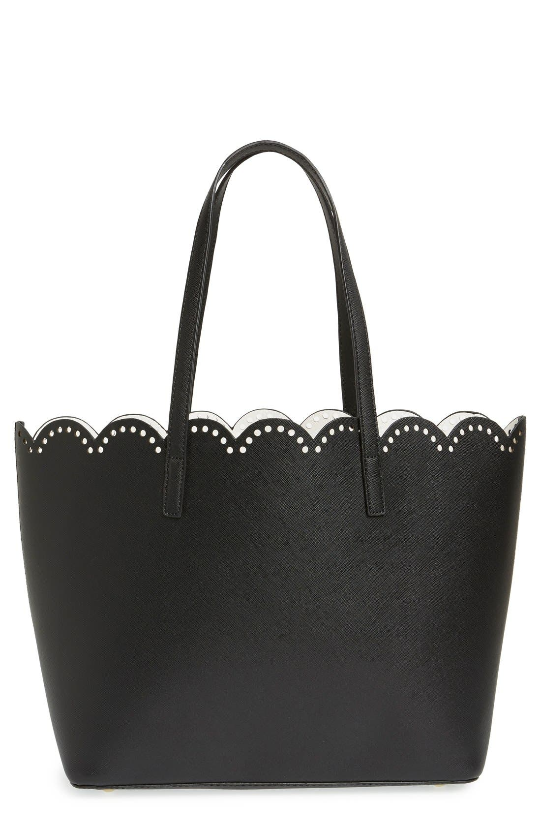 Scalloped Faux Leather Tote,                             Main thumbnail 1, color,                             Black