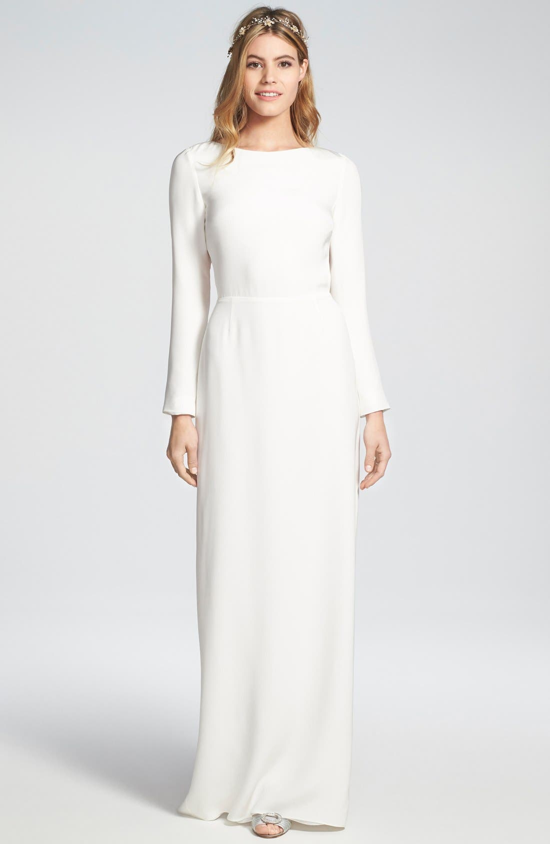 Houghton 'Cheyne' Open Back Long Sleeve Silk Column Gown