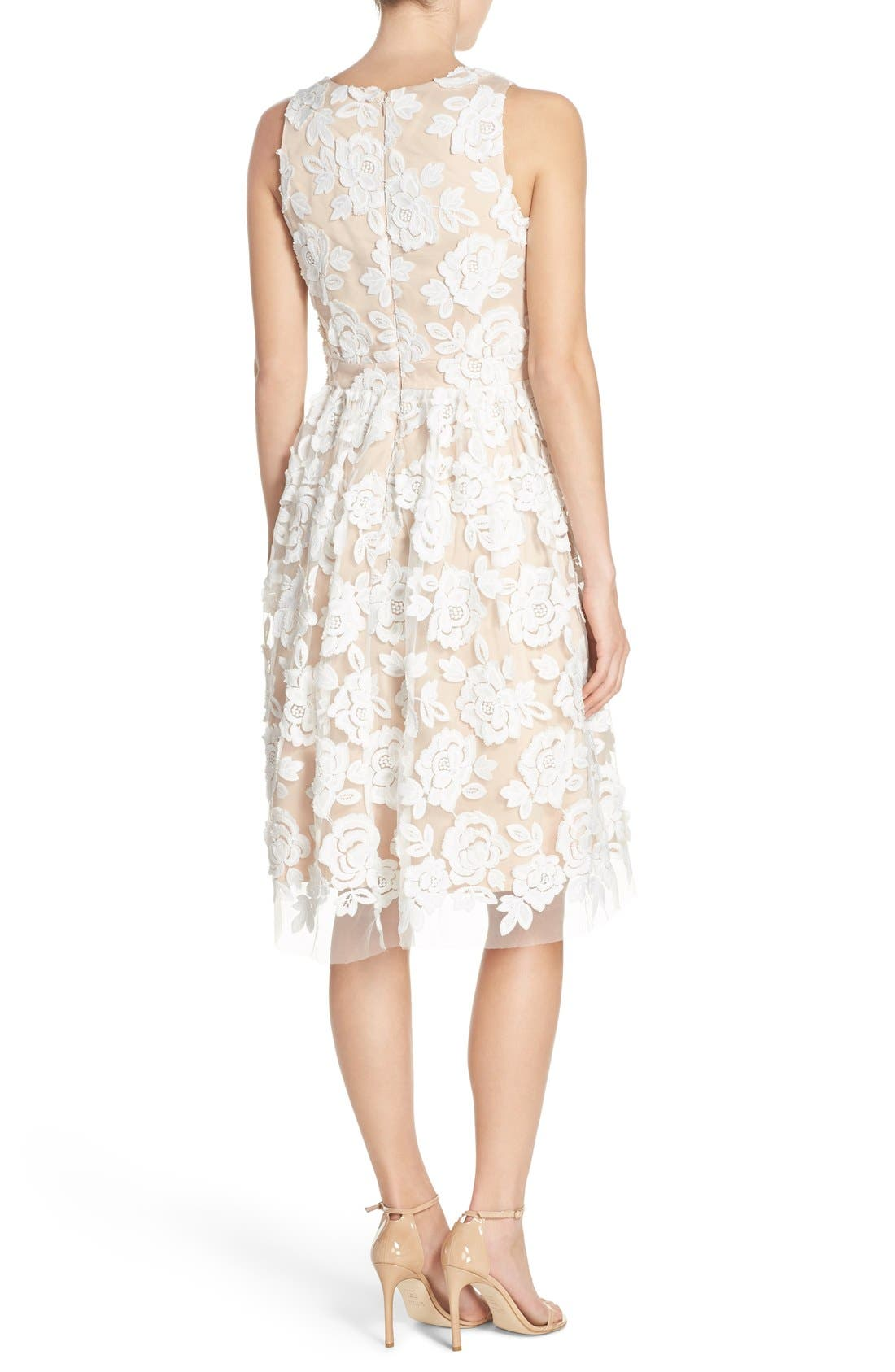 Embroidered Mesh Fit & Flare Dress,                             Alternate thumbnail 2, color,                             Ivory