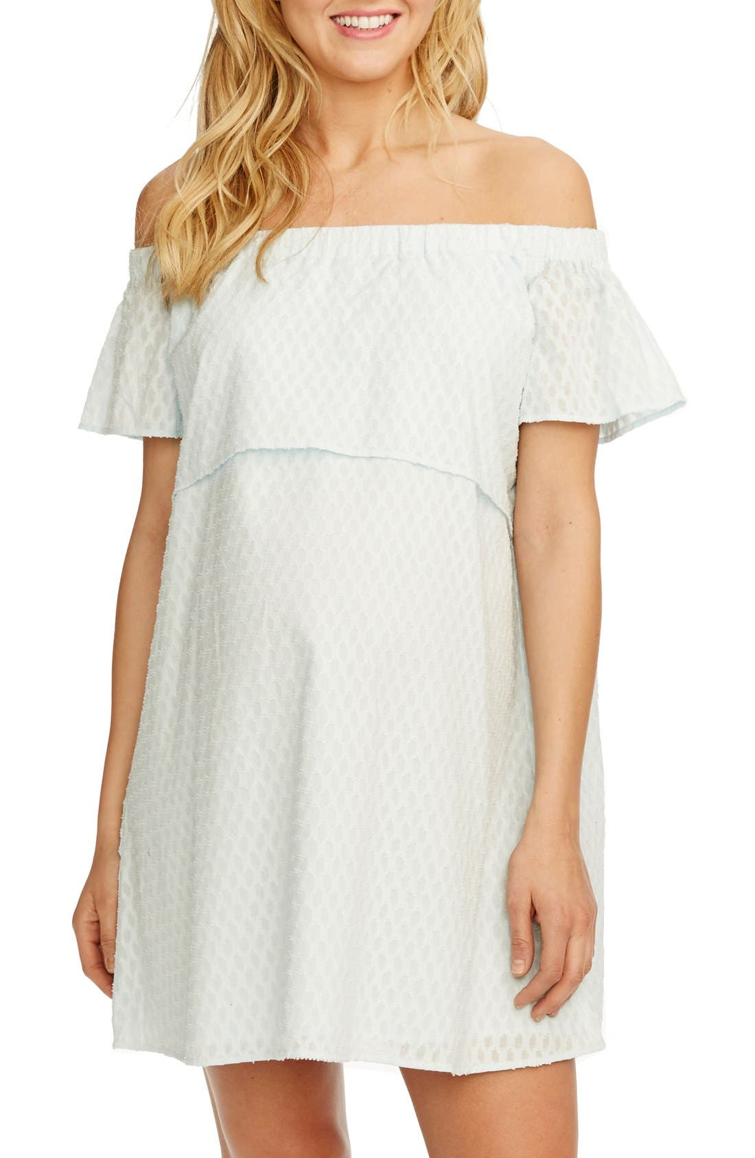 'Camille' Off the Shoulder Maternity Dress,                         Main,                         color, Ice Blue