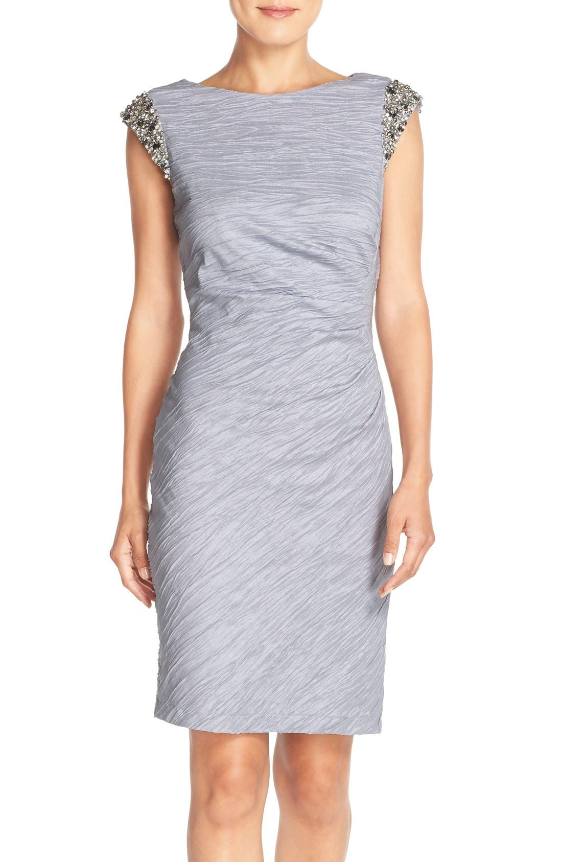 Main Image - Eliza J Embellished Taffeta Sheath Dress