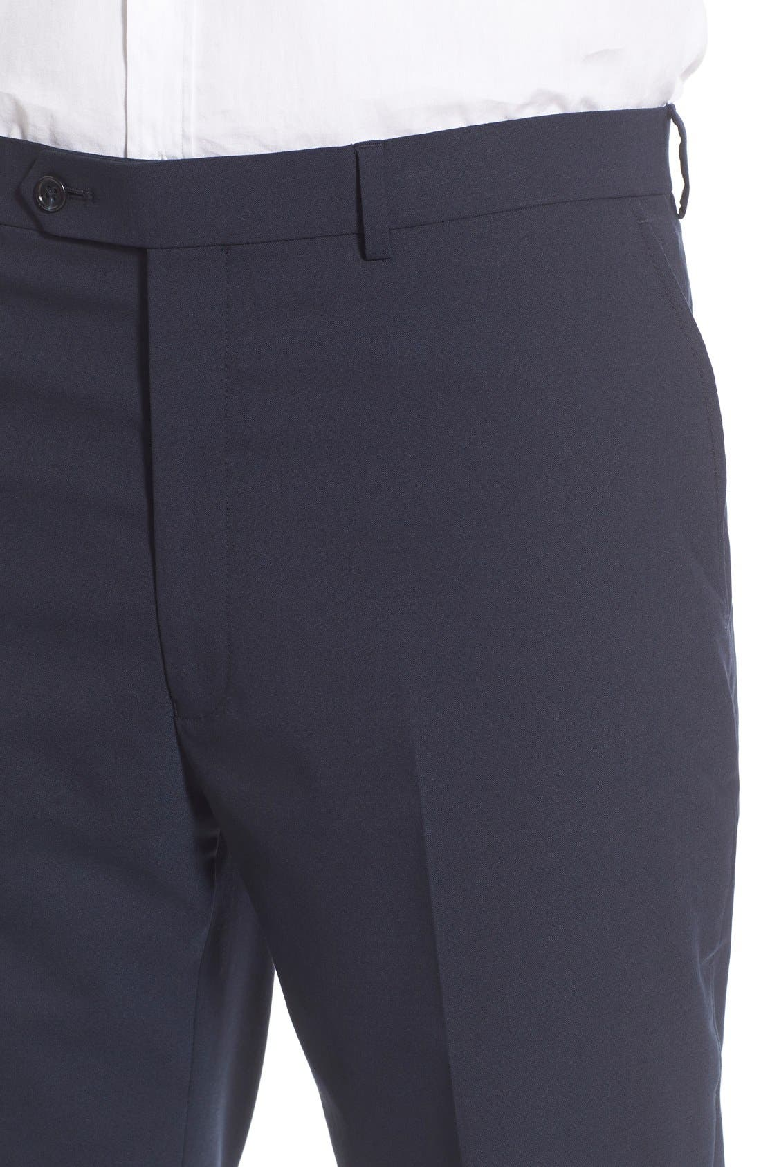 Flat Front Solid Stretch Wool Trousers,                             Alternate thumbnail 4, color,                             Navy Solid