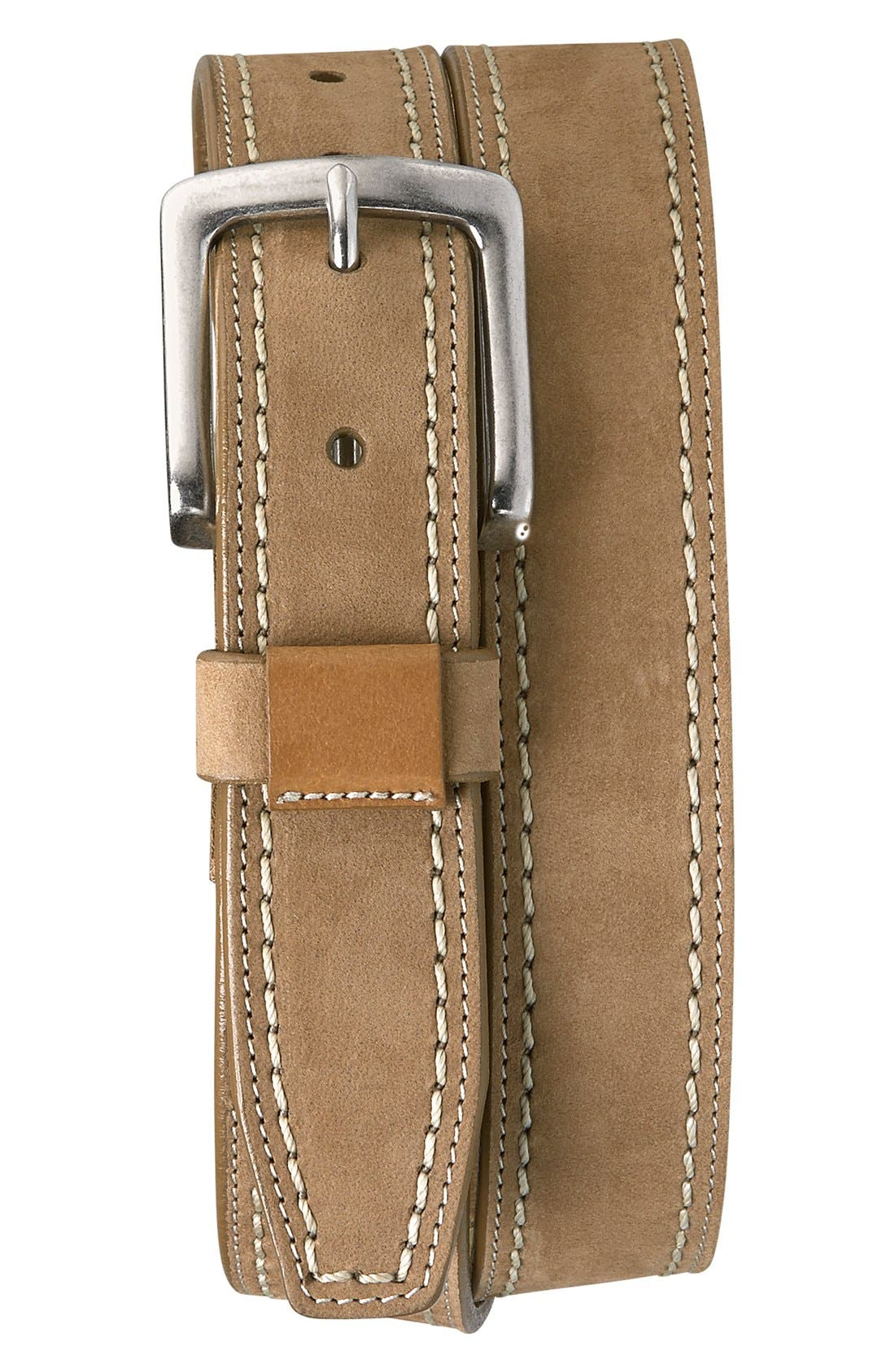 'Alpine' Nubuck Leather Belt,                             Main thumbnail 1, color,                             Tan