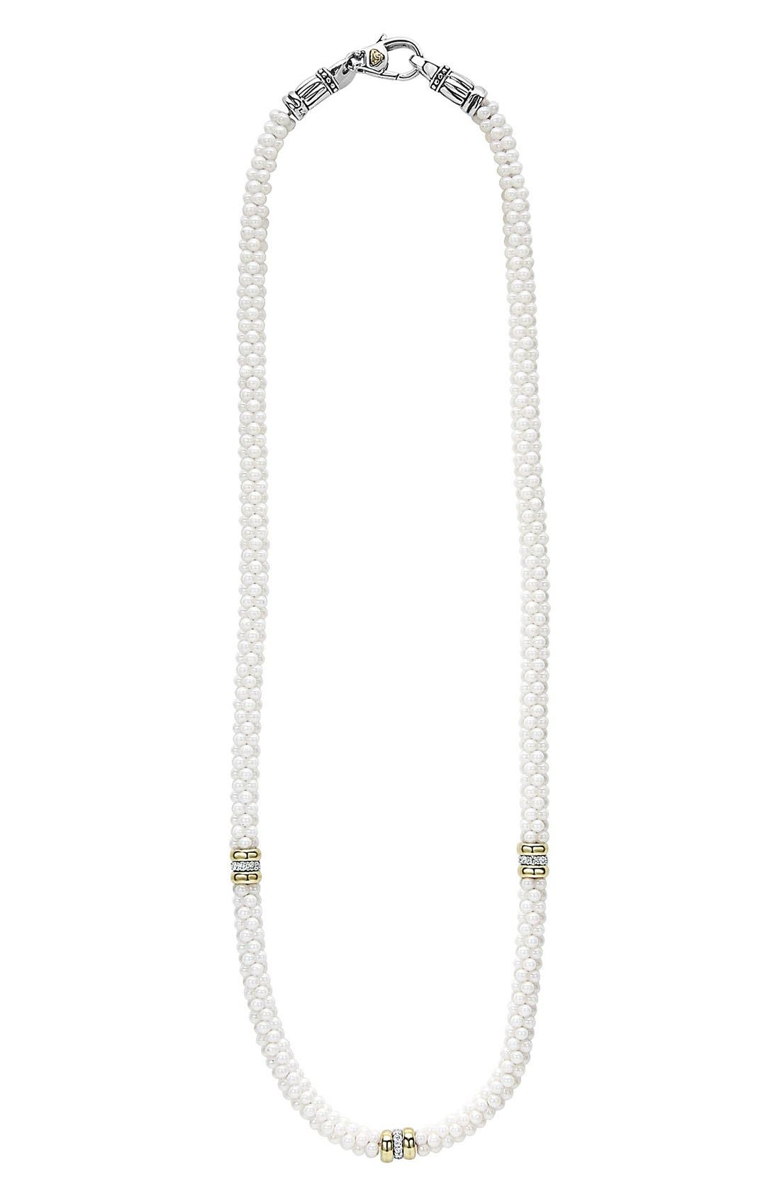 LAGOS White Caviar 5mm Beaded Diamond Station Necklace