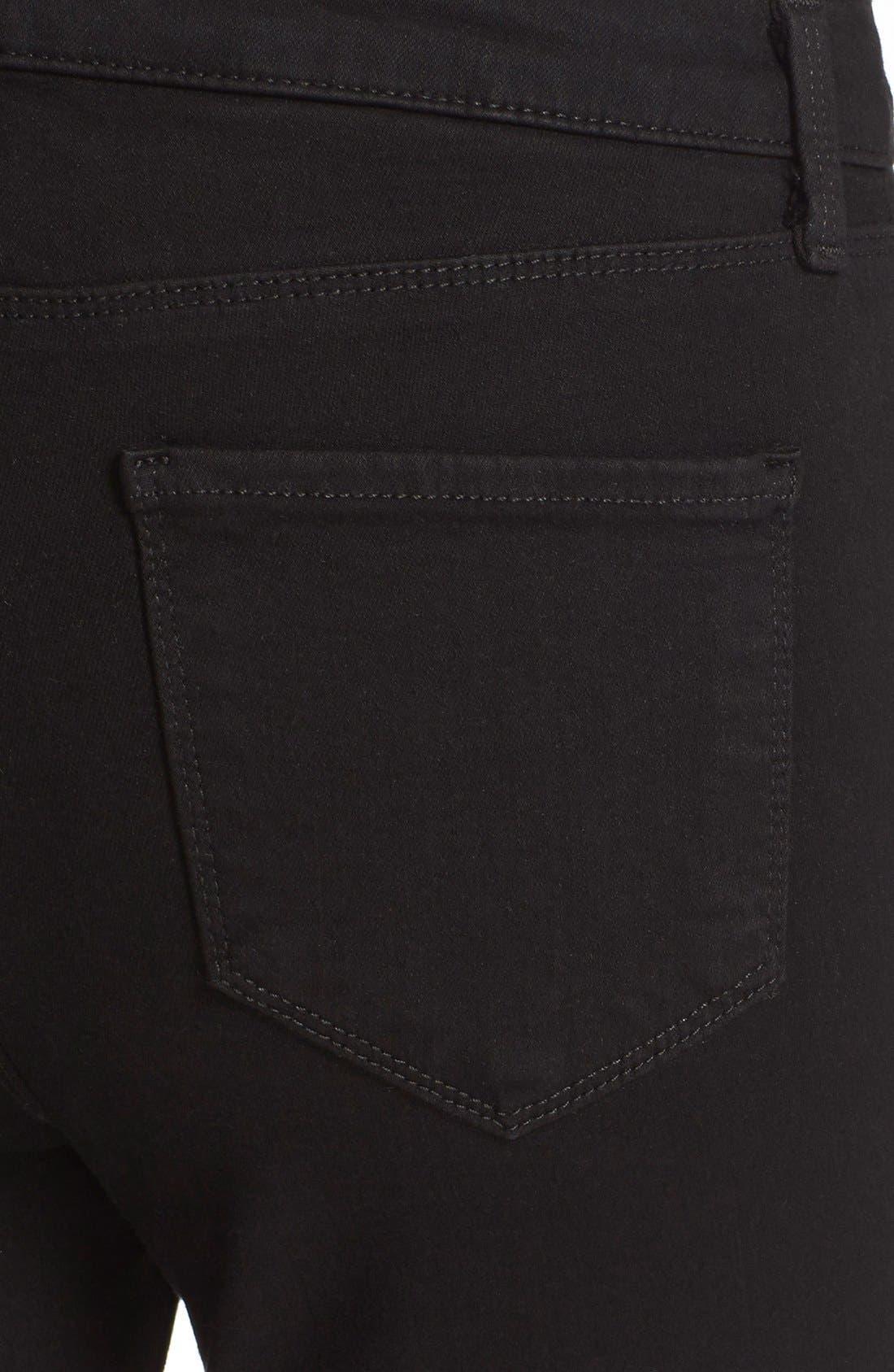 Margot High Waist Crop Jeans,                             Alternate thumbnail 4, color,                             Noir