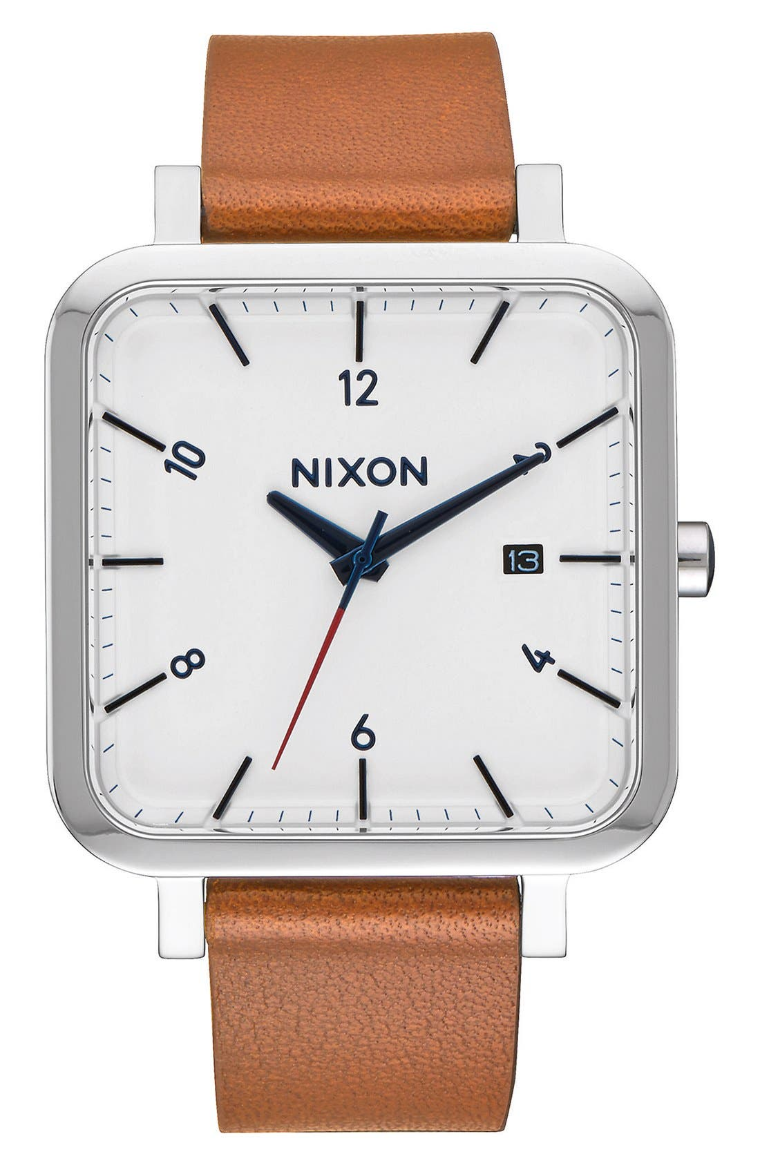 Nixon Ragnar Square Leather Strap Watch, 36mm