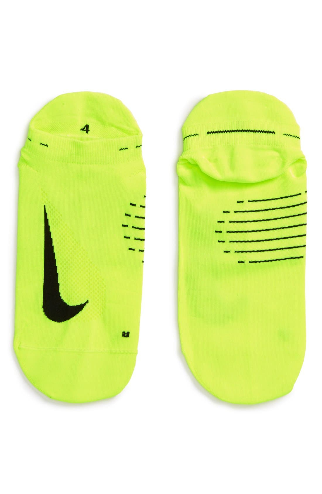 'Elite' Lightweight No-Show Tab Running Socks,                             Alternate thumbnail 2, color,                             Volt/ Black