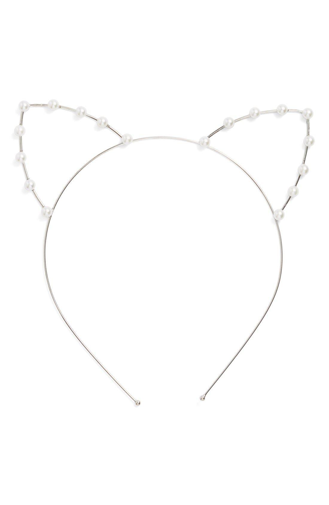 Alternate Image 1 Selected - Cara Faux Pearl Cat Ear Headband