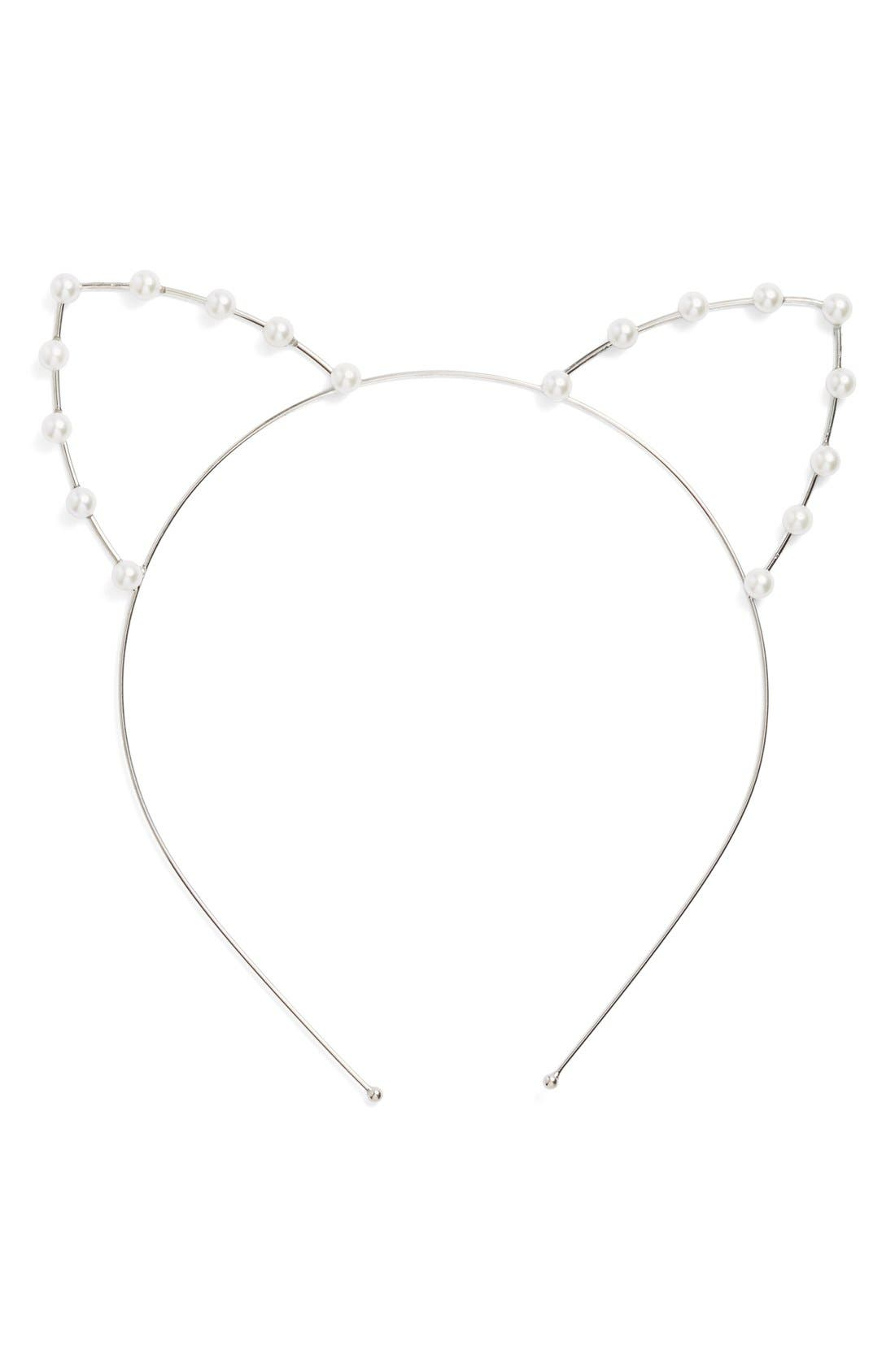 Main Image - Cara Faux Pearl Cat Ear Headband