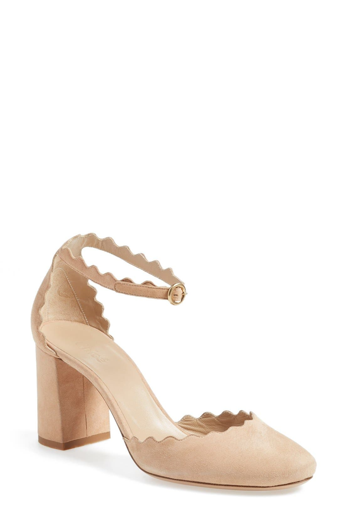 Main Image - Chloé Scalloped Ankle Strap d'Orsay Pump (Women)