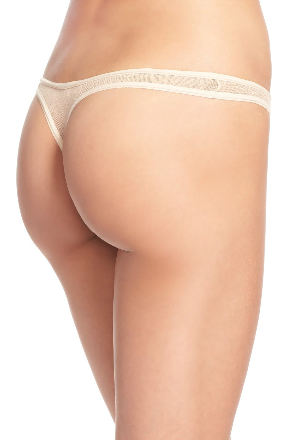 'Soire' Low Rise Mesh Thong,                             Alternate thumbnail 2, color,                             Blush