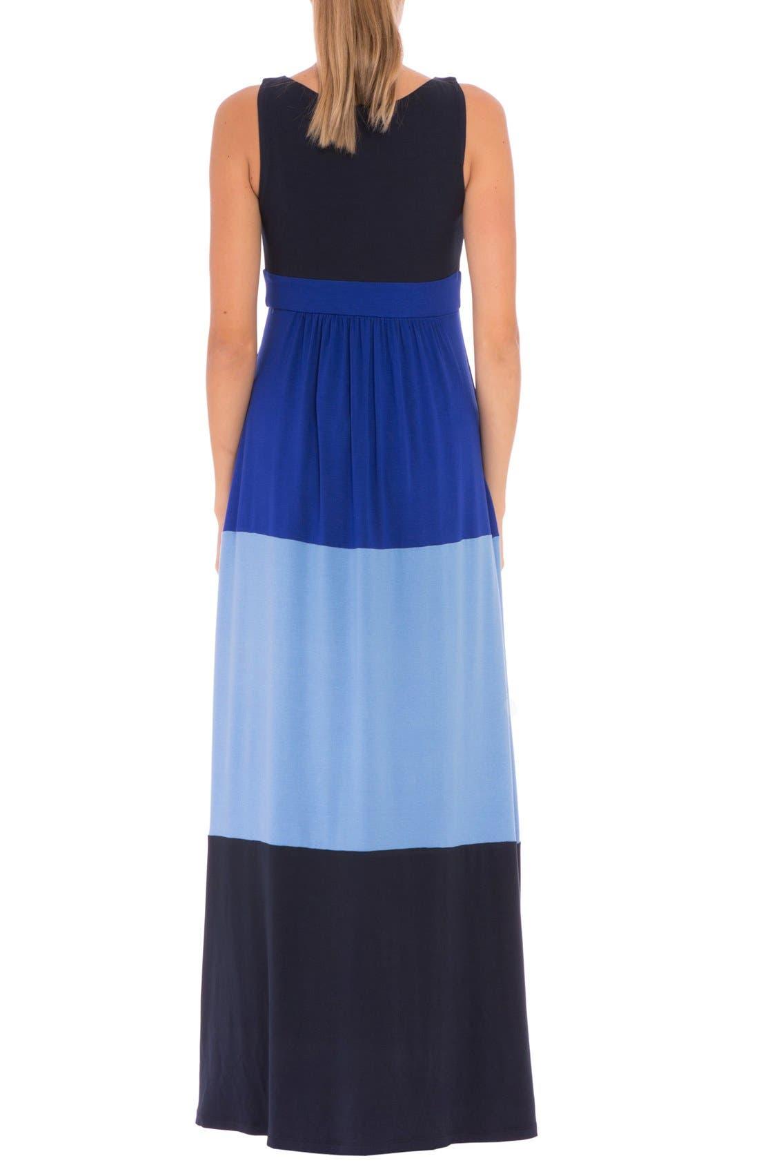 'Margarette' Colorblock Maternity Tank Dress,                             Alternate thumbnail 2, color,                             Navy