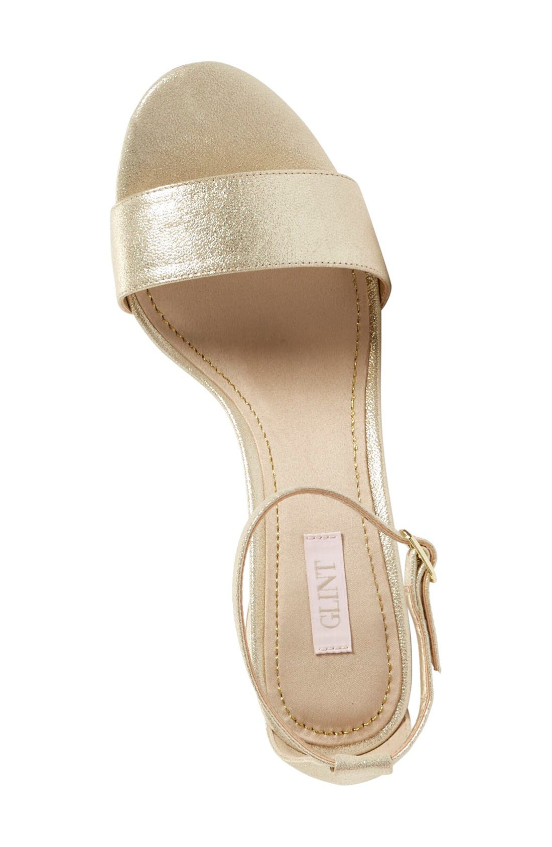 'Lana' Block Heel Ankle Strap Sandal,                             Alternate thumbnail 3, color,                             Platino Metallic Suede