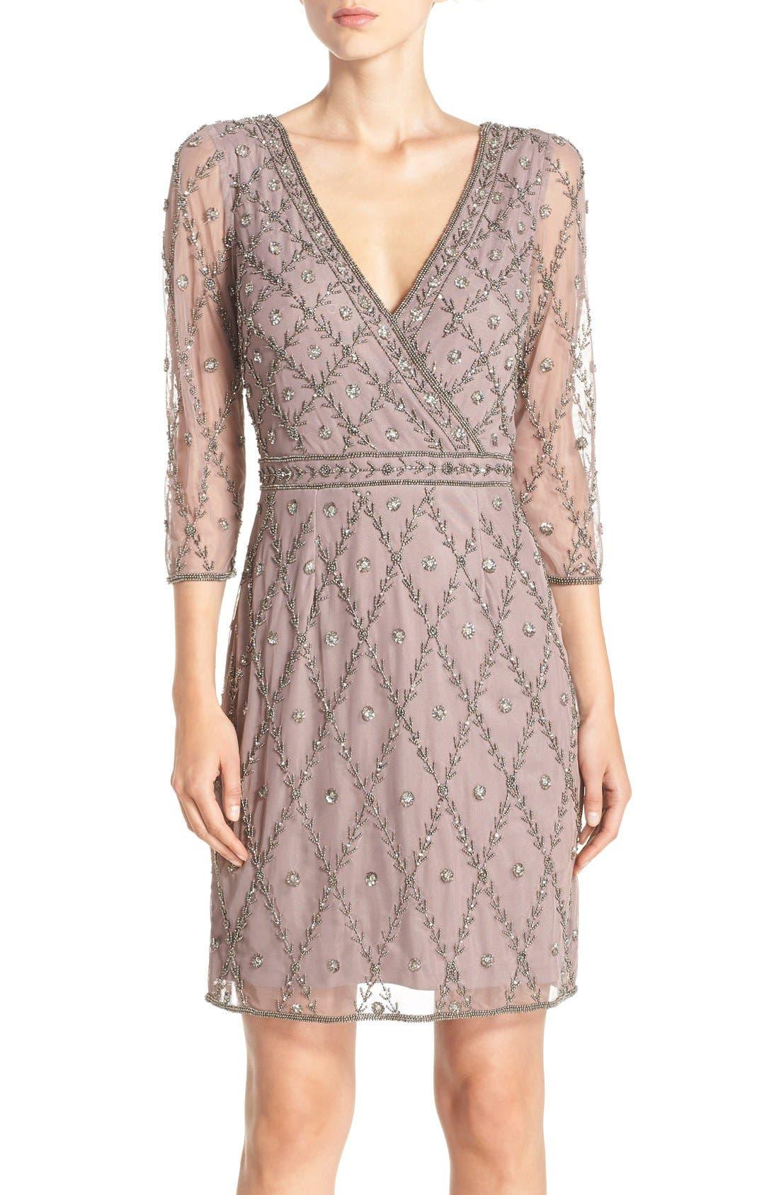 Main Image - Adrianna Papell Embellished Mesh Sheath Dress