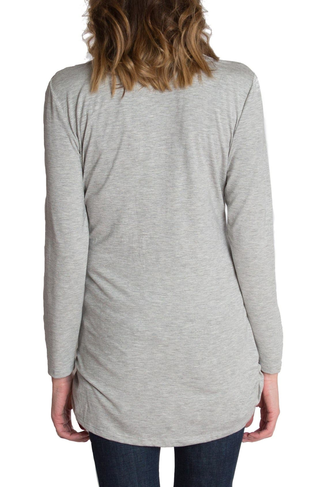 'Luxe' Long Sleeve Nursing Tee,                             Alternate thumbnail 2, color,                             Heather Gray