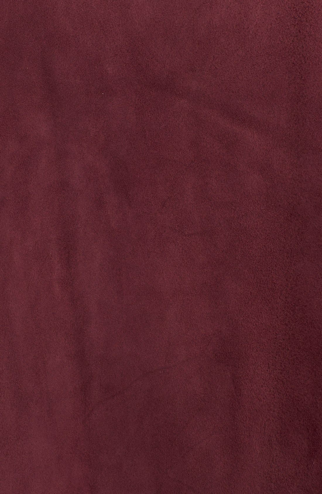 belted suede a-line skirt,                             Alternate thumbnail 5, color,                             Midnight Wine