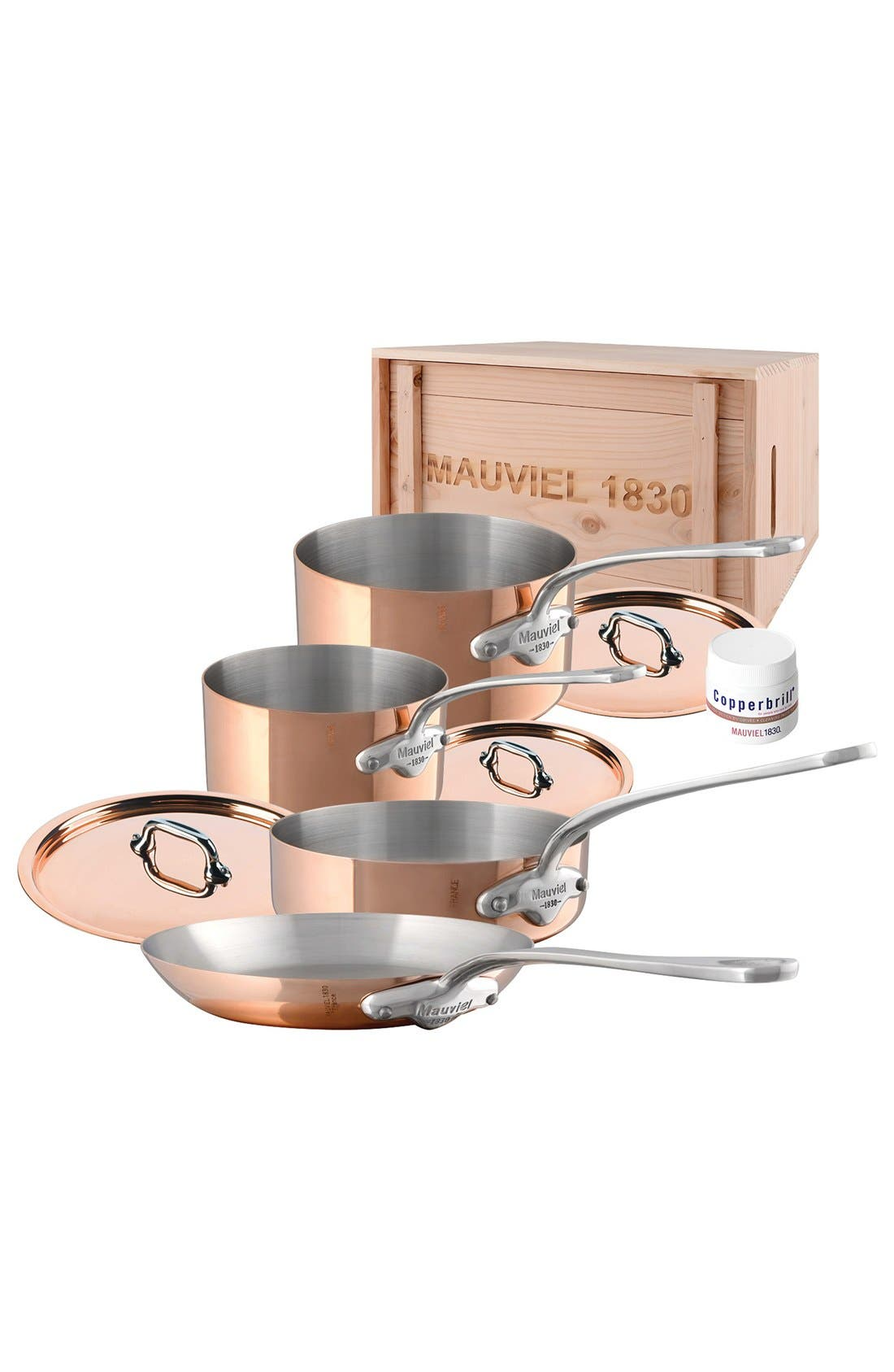 M'héritage - M'150s 7-Piece Copper & Stainless Steel Cookware Set,                             Main thumbnail 1, color,                             Metallic Rust/Copper