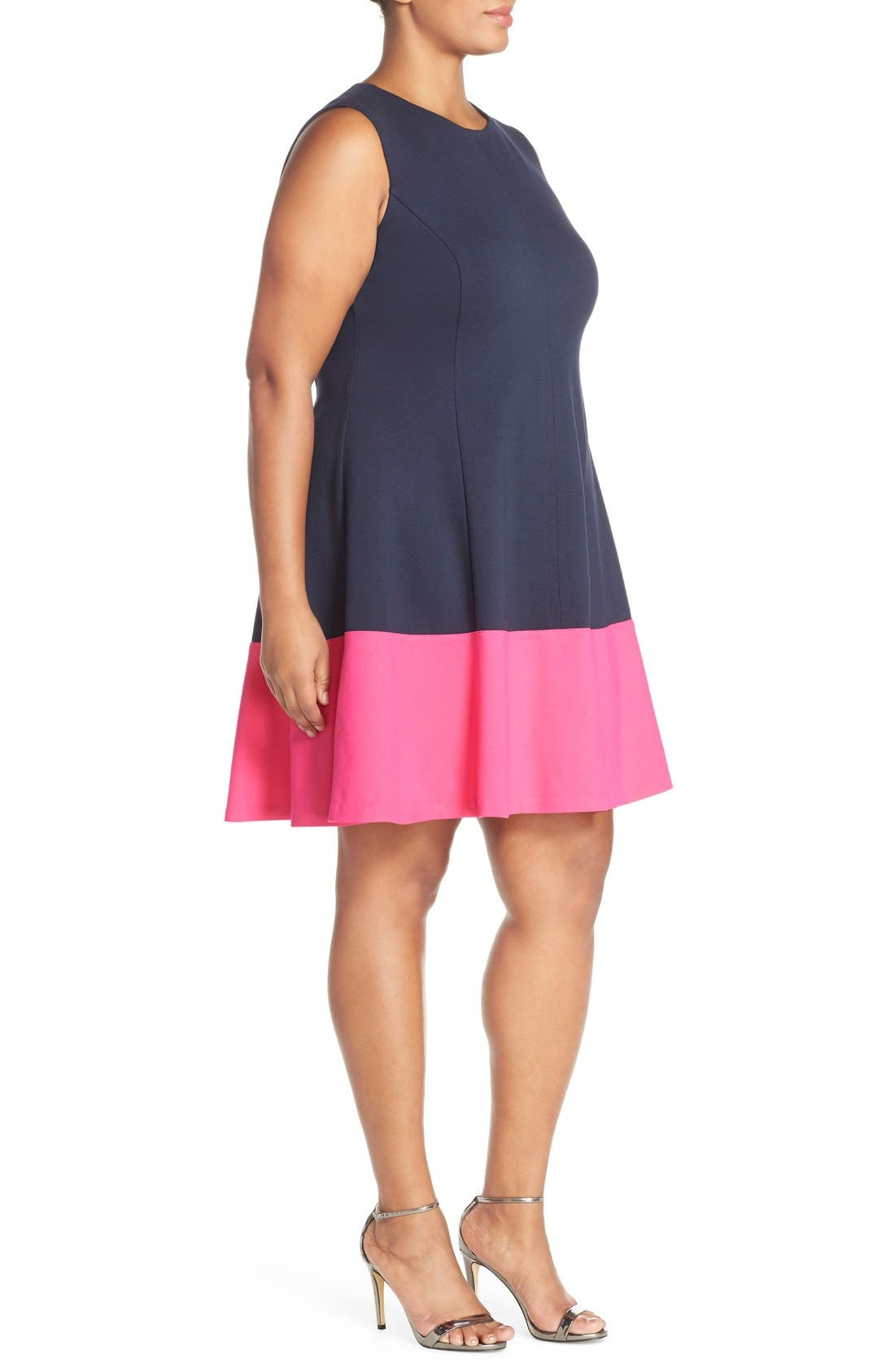 Colorblock Hem Fit & Flare,                             Alternate thumbnail 3, color,                             Navy/ Pink