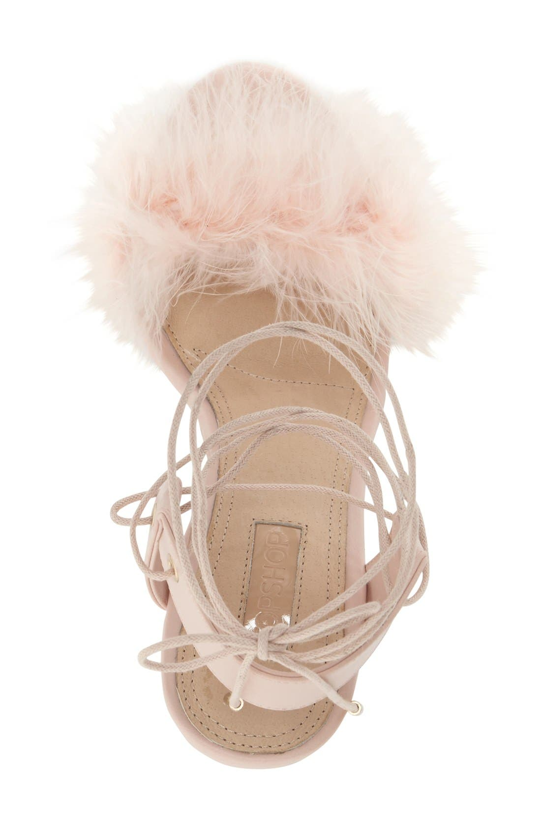 Marabou Feather Lace-Up Sandal,                             Alternate thumbnail 3, color,                             Nude