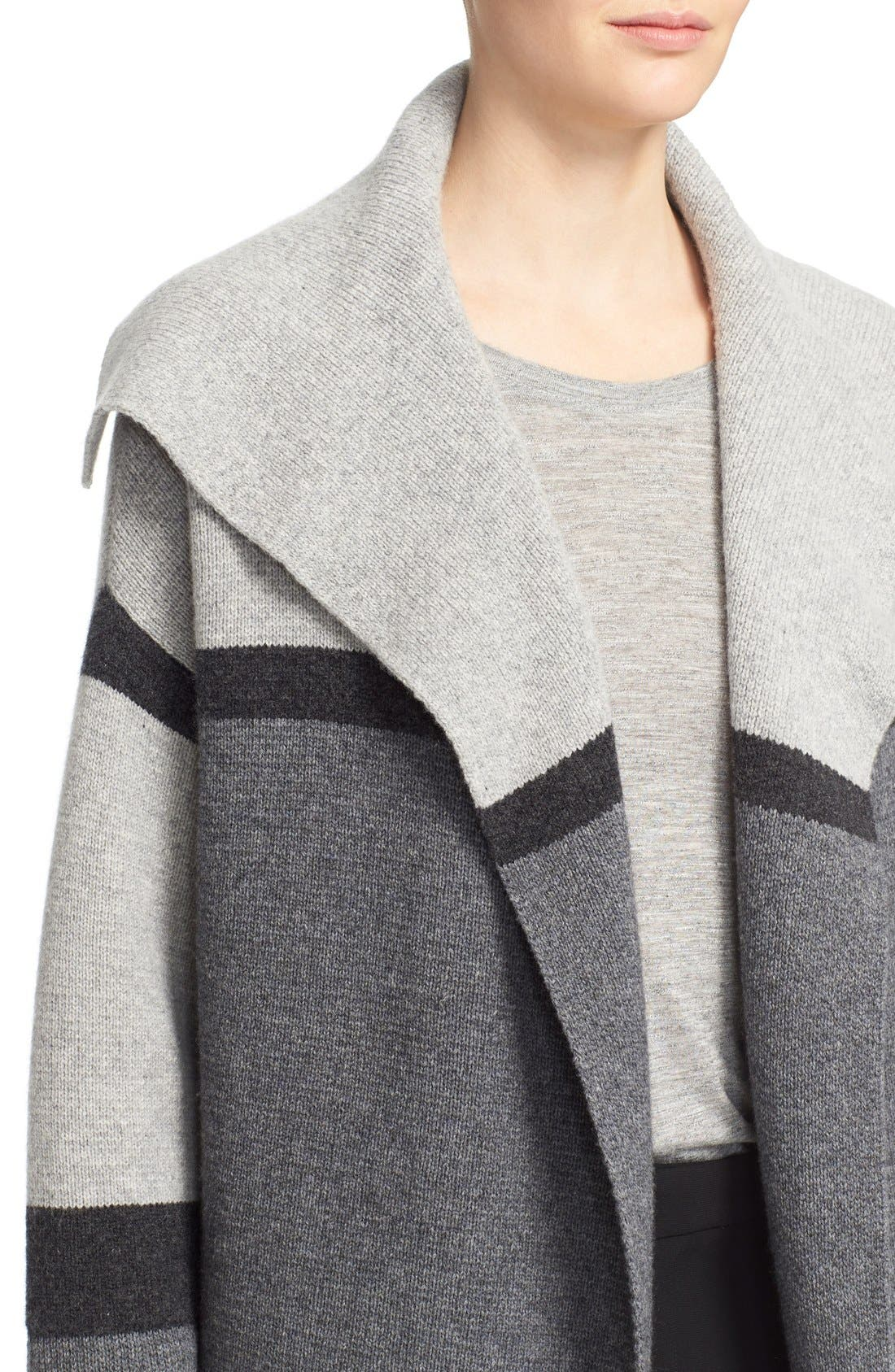 Colorblock Wool & Cashmere Knit Car Coat,                             Alternate thumbnail 5, color,                             Heather Steal/ Stone/ Carbon