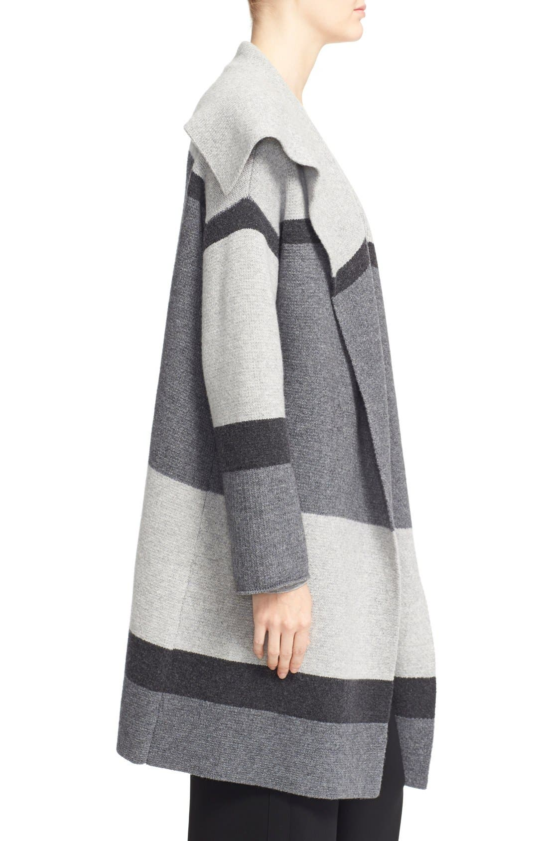 Colorblock Wool & Cashmere Knit Car Coat,                             Alternate thumbnail 4, color,                             Heather Steal/ Stone/ Carbon