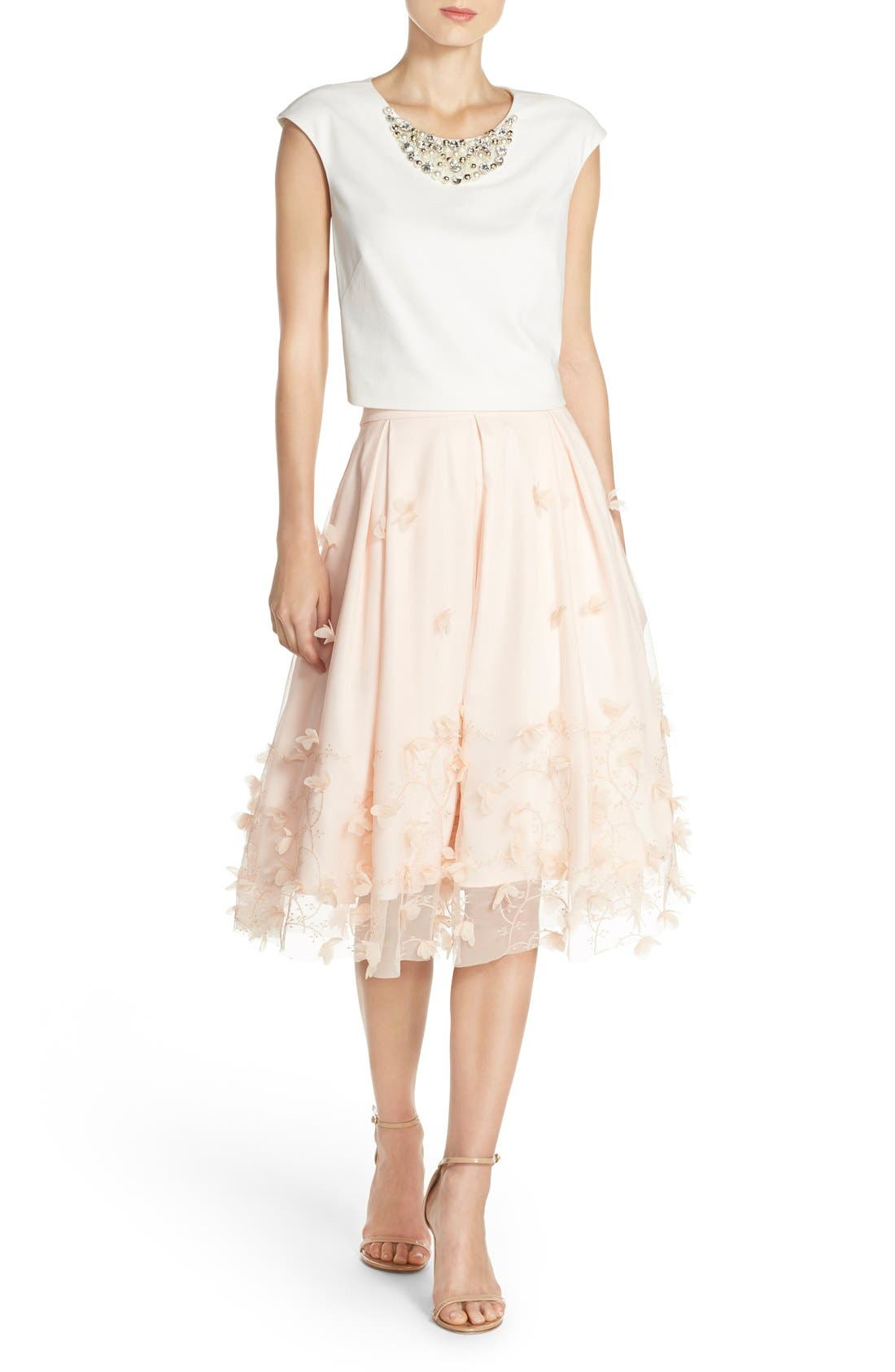 Alternate Image 5  - Eliza J Floral Appliqué Ball Skirt
