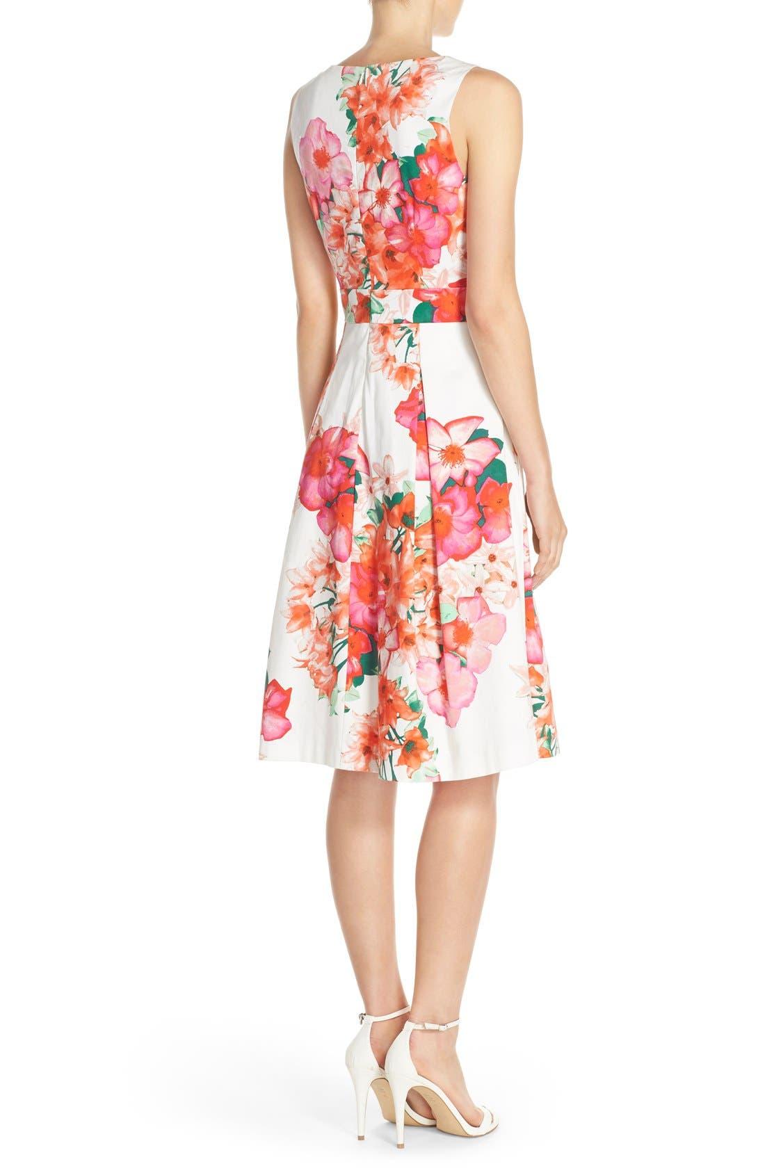 Floral Print Fit & Flare Dress,                             Alternate thumbnail 2, color,                             Pink/ Orange/ Green