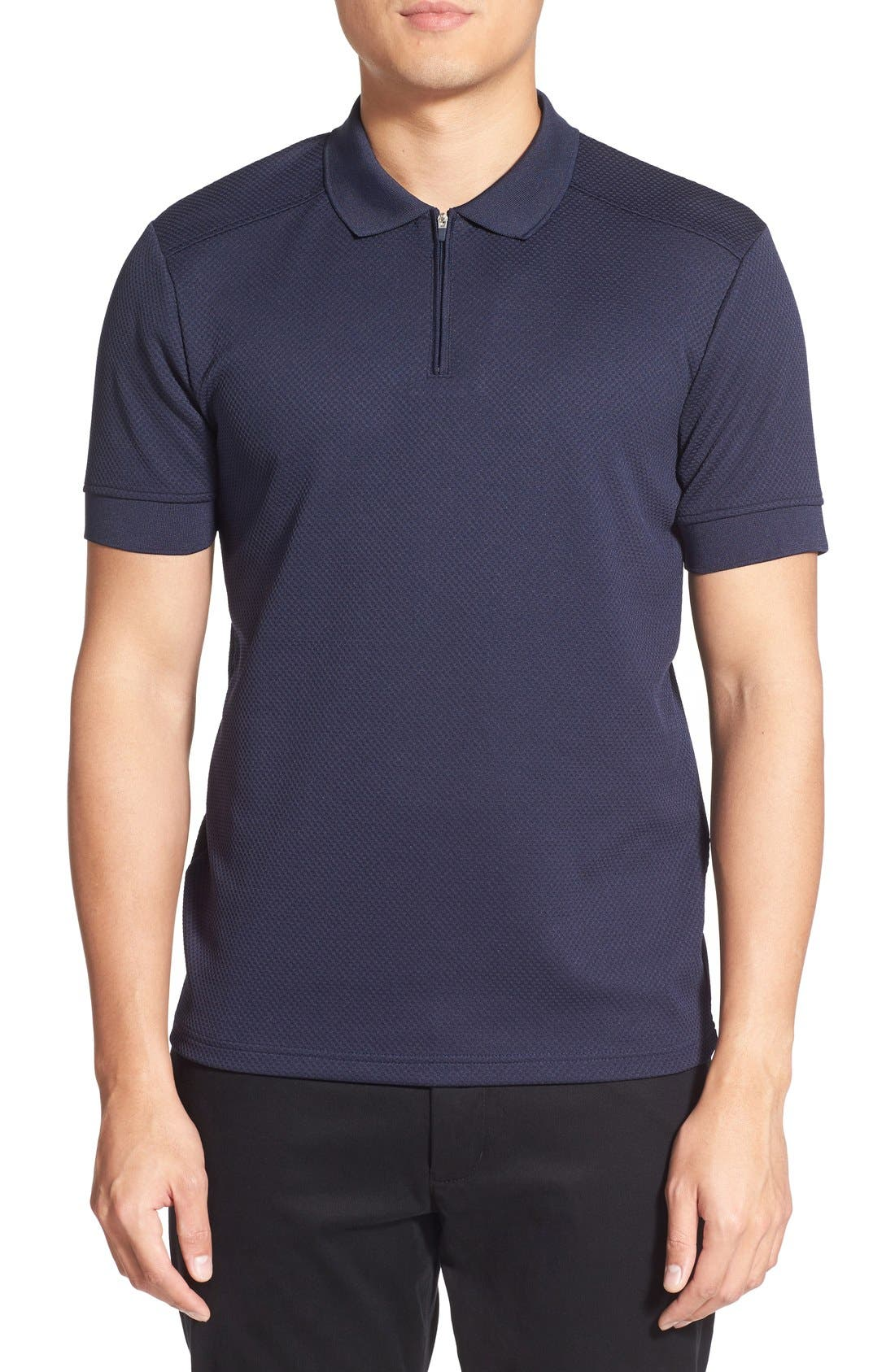 Slim Fit Mesh Polo,                         Main,                         color, Navy