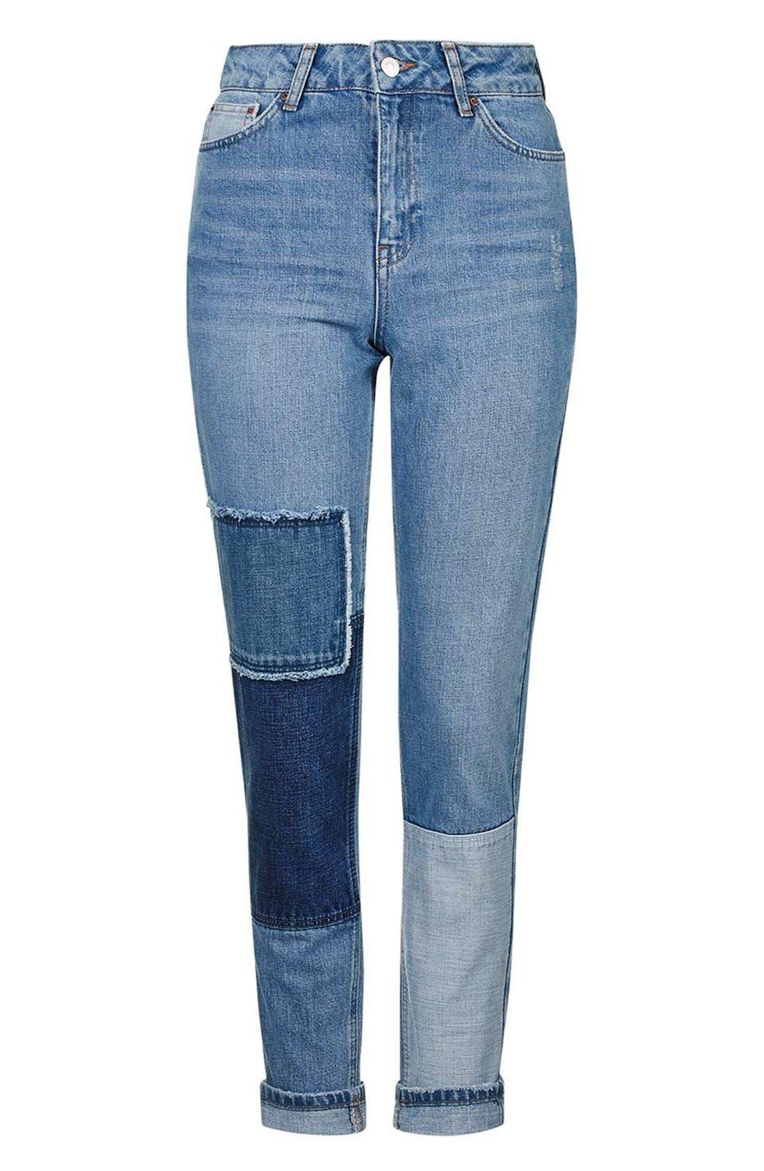 Alternate Image 5  - Topshop Mom Patchwork High Rise Jeans
