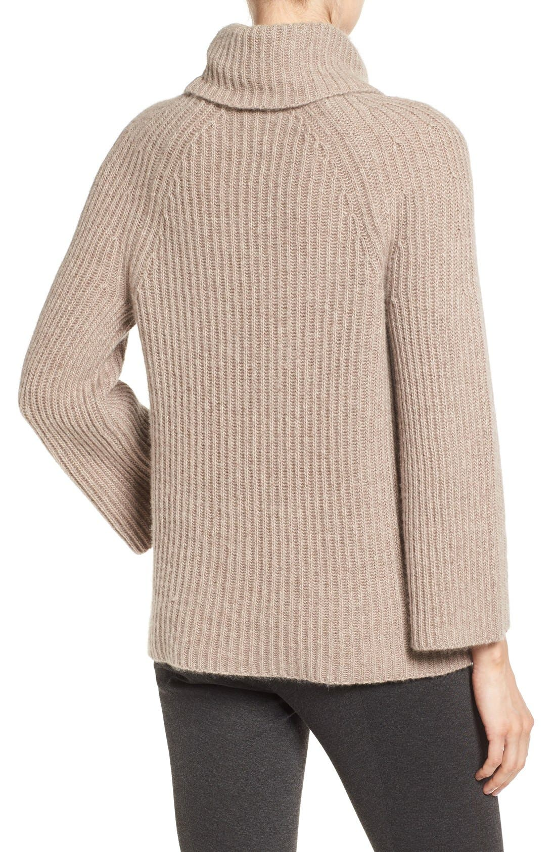 Alternate Image 3  - Halogen® Ribbed Cashmere Turtleneck Sweater (Regular & Petite)