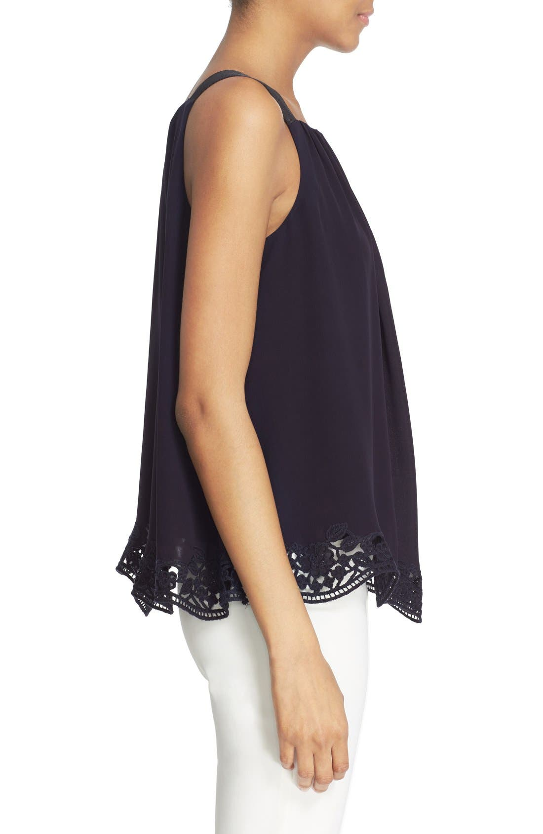Alternate Image 3  - kate spade new york embroidered trim silk swing top