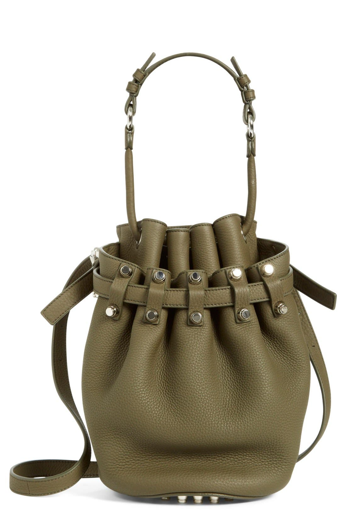 'Small Diego - Nickel' Leather Bucket Bag,                             Main thumbnail 1, color,                             Grass
