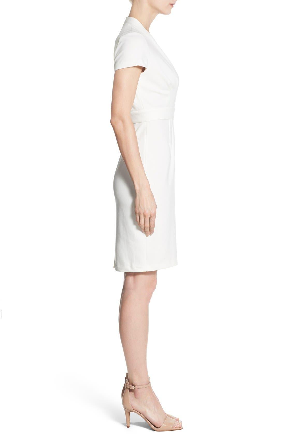 'Dale' V-Neck Sheath Dress,                             Alternate thumbnail 3, color,                             White