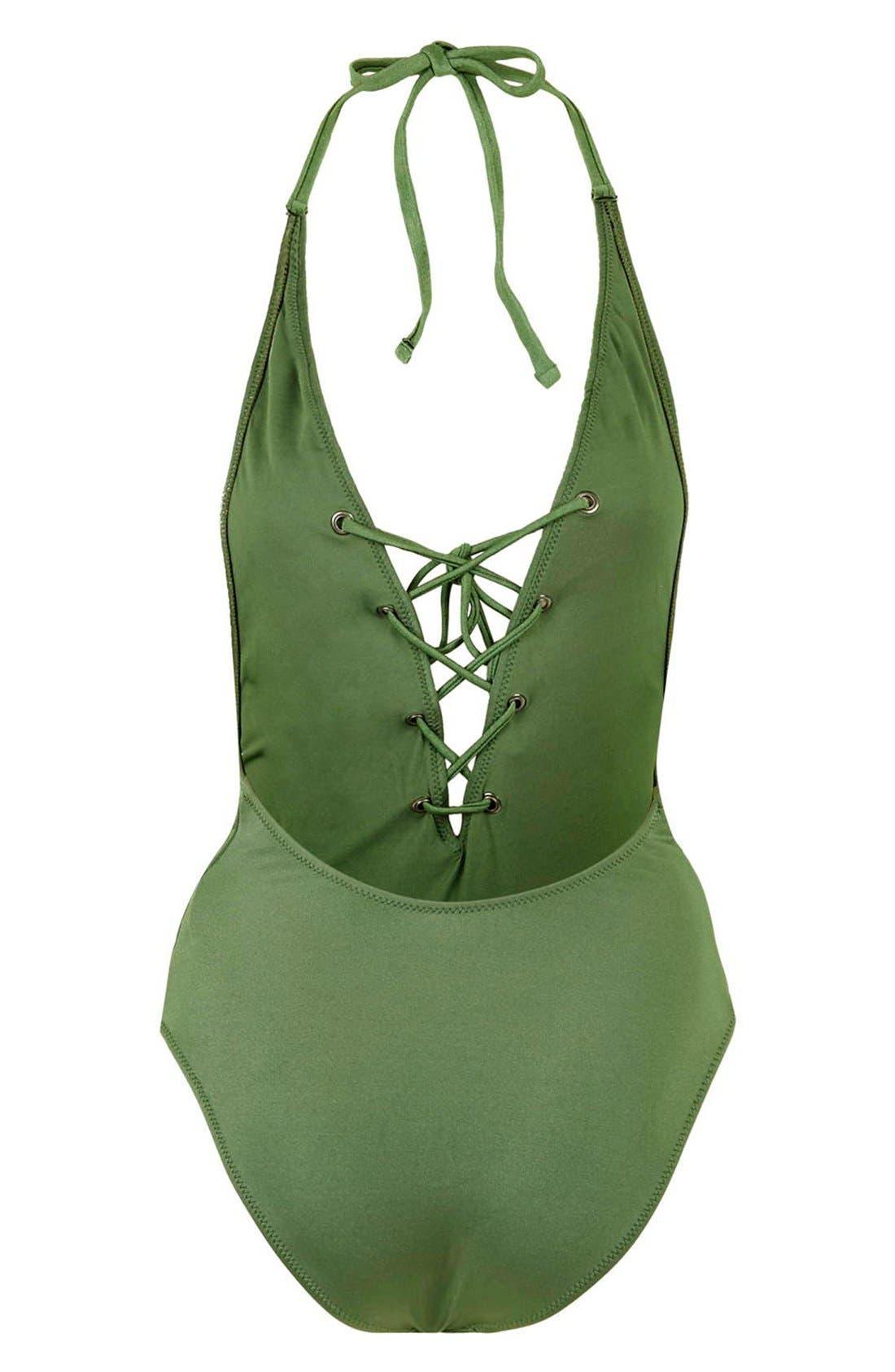 Alternate Image 4  - Topshop Lattice Front Halter One-Piece Swimsuit