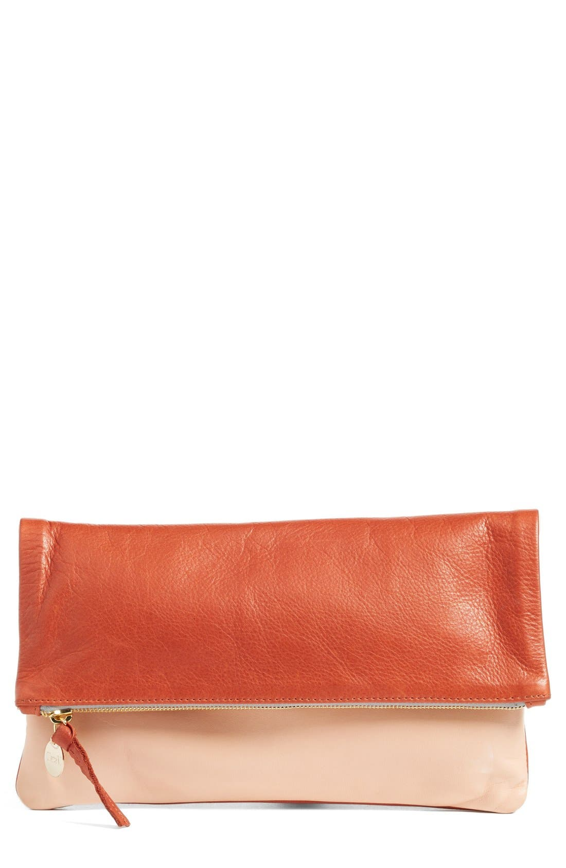 Alternate Image 1 Selected - Clare V. Colorblock Leather Foldover Clutch