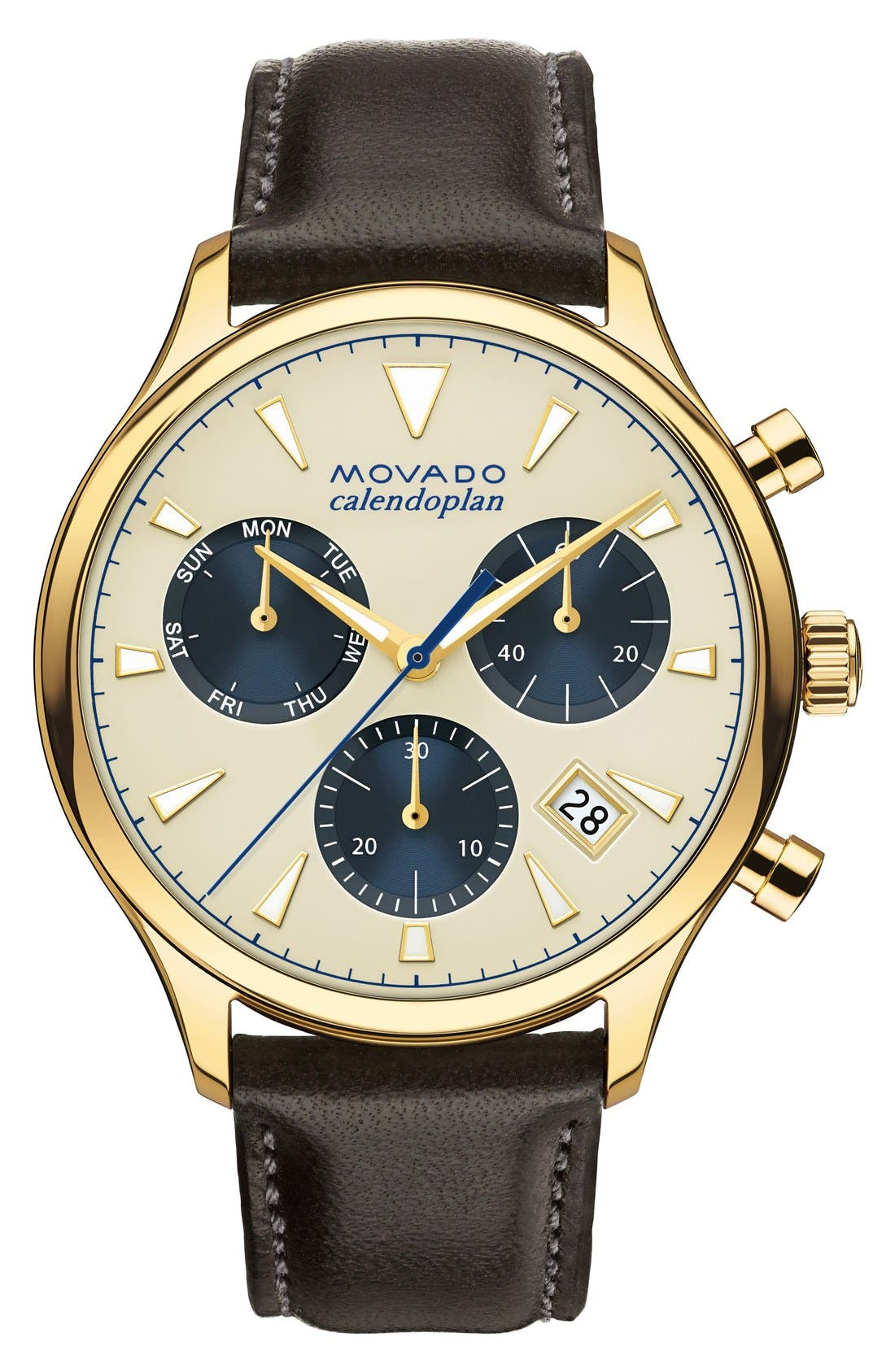 'Heritage' Chronograph Leather Strap Watch, 43mm,                         Main,                         color, Brown/ Beige