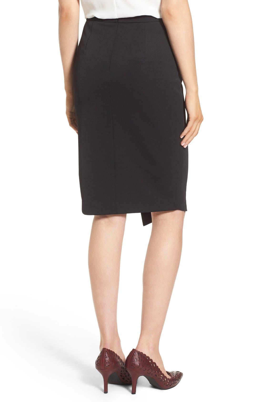 Asymmetrical Zip Pencil Skirt,                             Alternate thumbnail 3, color,                             Black
