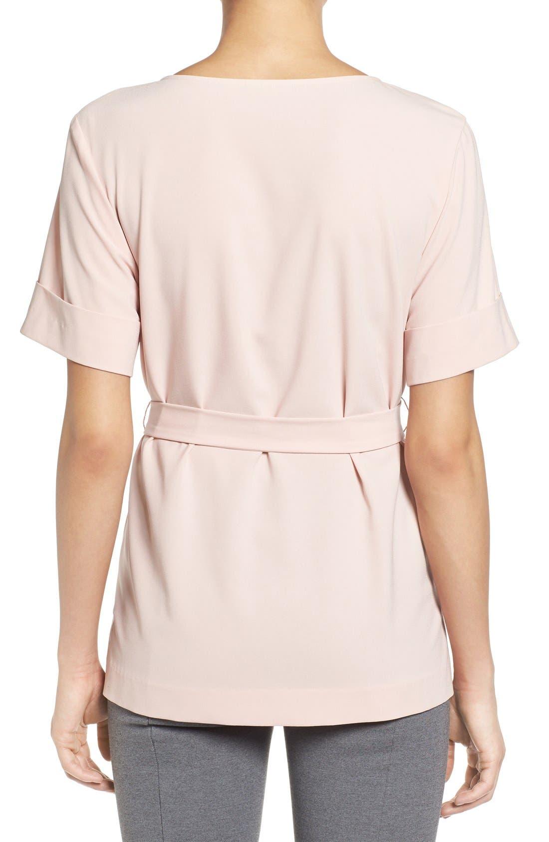 Alternate Image 2  - Halogen® Belted Short Sleeve Top (Regular & Petite)