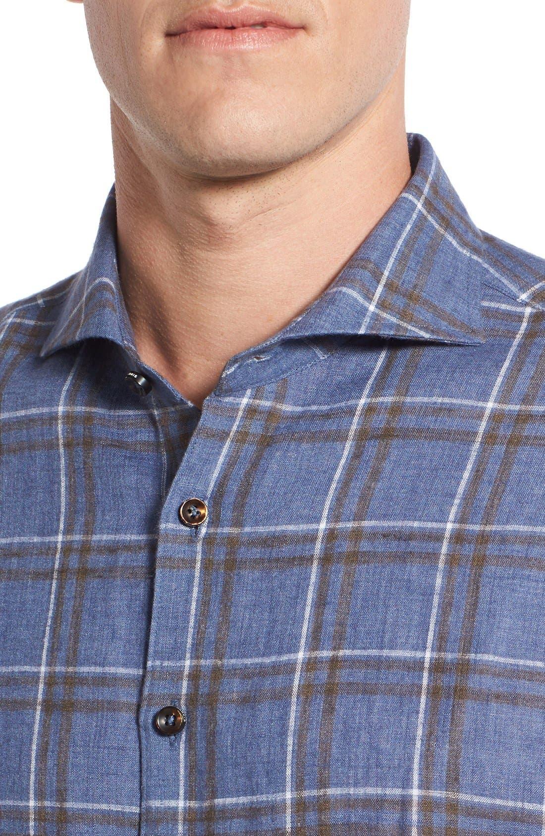 Alternate Image 4  - Singer + Sargent Plaid Brushed Linen Sport Shirt