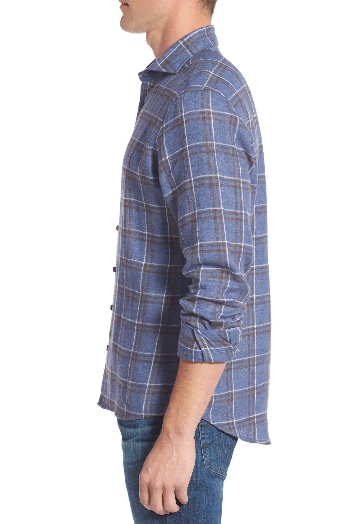 Alternate Image 3  - Singer + Sargent Plaid Brushed Linen Sport Shirt