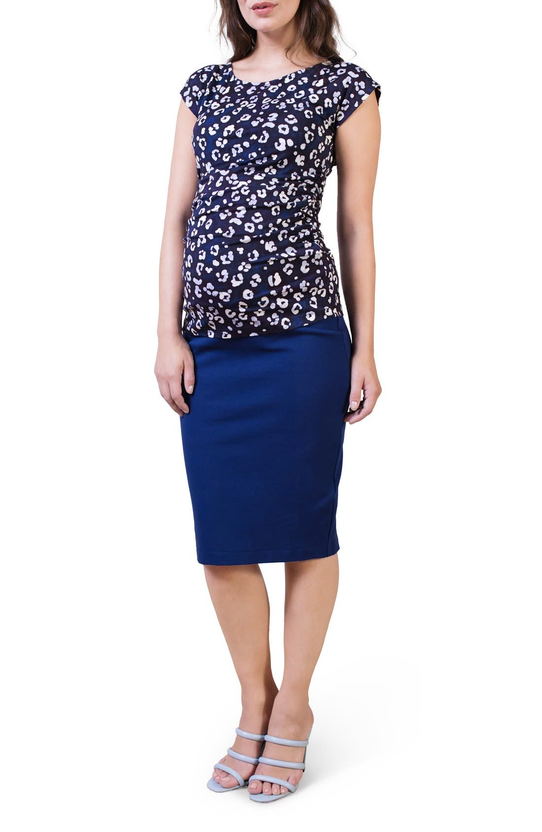 Maternity Pencil Skirt,                         Main,                         color, Rich Navy